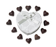 Heart shape chocolate and heart shape gift box isolated Stock Image