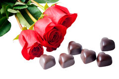 Heart shape chocolate and red roses Stock Photography