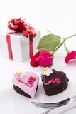 Heart Shape Chocolate with rose Royalty Free Stock Images