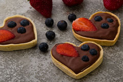 Heart shape chocolate tart Royalty Free Stock Images