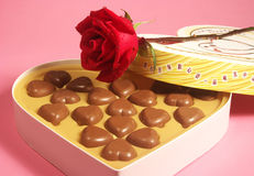 Heart shape chocolates. In box and rose Stock Photos