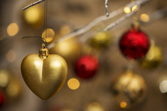 Heart shape christmas decoration with bokeh lights Royalty Free Stock Image