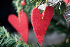 Heart shape Christmas decorations Royalty Free Stock Images