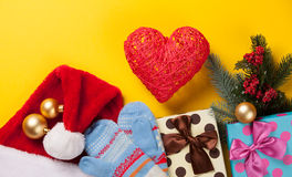Heart shape and christmas gifts Stock Photos