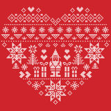 Heart shape Christmas  pattern with Santa Claus on red background. Heart Shape Scandinavian Printed Textile  style and inspired by  Norwegian Christmas and Royalty Free Stock Photography