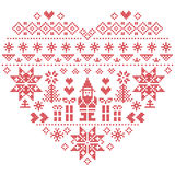 Heart shape Christmas  pattern with Santa Claus on white  background. Heart Shape Scandinavian Printed Textile  style and inspired by  Norwegian Christmas and Royalty Free Stock Photography