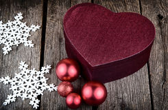 heart shape christmas present box red christmas decoration Balls Stock Photography