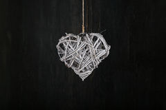 Heart Shape Christmas Wreath White Twigs on Dark Rustic Backgrou Stock Images