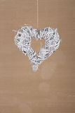 Heart Shape Christmas Wreath White Twigs Old Cardboard Backgroun Royalty Free Stock Images