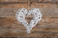 Heart Shape Christmas Wreath White Twigs on Old Rustic Backgroun Stock Images
