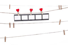 Heart  shape clip on a  twine, hanging Negatives, love movie Stock Images