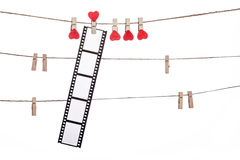 Heart  shape clip on a  twine, hanging Negatives, love movie Stock Photo