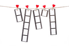 Heart  shape clip on a  twine, hanging Negatives, love movie Royalty Free Stock Photo