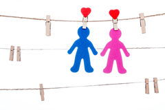 Heart  shape clip on a  twine, hanging sweet  COUPLE Stock Photography