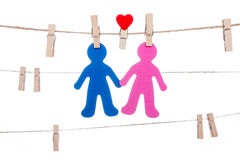 Heart  shape clip on a  twine, hanging sweet  COUPLE Royalty Free Stock Photo