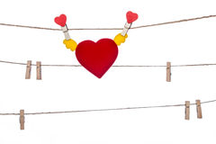 Heart  shape clip on a  twine , hanging wings heart Royalty Free Stock Photo