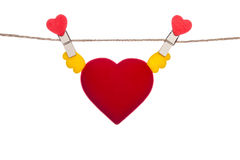 Heart  shape clip on a  twine , hanging wings heart Stock Images