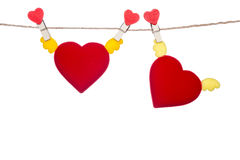 Heart  shape clip on a  twine , hanging wings heart Stock Photos