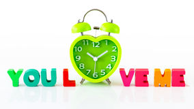 Heart Shape Clock Wooden Alphabets for Valentine`s Royalty Free Stock Photo