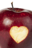 Heart shape closeup carved in apple royalty free stock photo