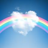 Heart Shape Cloud with Rainbow Royalty Free Stock Photos