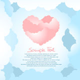 Heart shape clouds. With clouds background. Available copy space for your text Royalty Free Stock Image