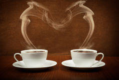 Heart shape by coffee Stock Photos