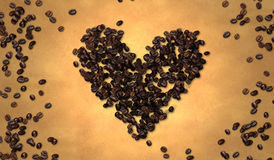 Heart Shape Coffee Bean on Old Paper Royalty Free Stock Photos