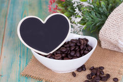 Heart shape with coffee bean Royalty Free Stock Images
