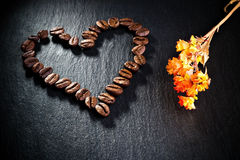 Heart shape coffee beans Stock Images
