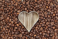 Heart shape in coffee beans. Royalty Free Stock Image