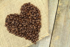 Heart shape with coffee beans. I love coffee. stock photo