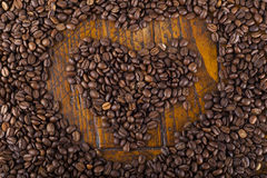 Heart shape and coffee beans Royalty Free Stock Images