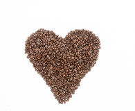 Heart shape of coffee beans Royalty Free Stock Image