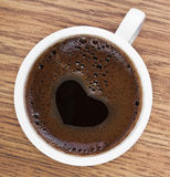 Heart Shape Coffee Foam on The White Glass Stock Image