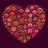Heart Shape Color Circles Mosaic Background Stock Photos