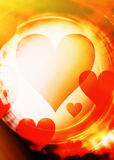 Heart shape in the color space, abstract graphic collage background. Stock Photography