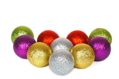 Heart shape of colored Christmas balls Stock Photo
