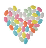 Heart shape by colorful Easter eggs Royalty Free Stock Photography