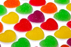 Heart shape colorful jelly coated with sugar Stock Images