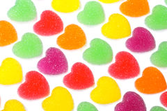 Heart shape colorful jelly coated with sugar Royalty Free Stock Image