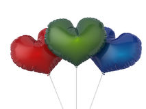 Heart shape colorful party balloons. Isolated on white backgroun Royalty Free Stock Images
