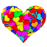 Heart shape composed of many colorful hearts Stock Photos