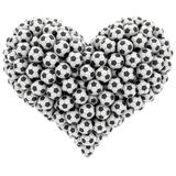 Heart shape composed of many soccer Stock Image