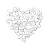 Heart shape composed from white flowers Stock Photos
