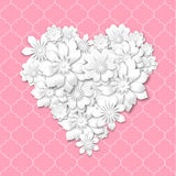 Heart shape composed from white flowers. With 3d effect on pink background, vector illustration, eps 10 with transparency Stock Photo