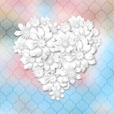 Heart shape composed from white flowers Royalty Free Stock Image