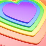 Heart shape composition as festive background. Glossy symbolic heart shape rainbow colored composition as festive background Royalty Free Stock Images