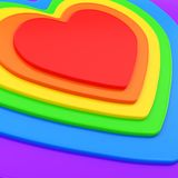 Heart shape composition as festive background. Glossy symbolic heart shape rainbow colored composition as festive background Royalty Free Stock Photo