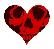 Heart shape concept tattoo with the skull. Skull inside heart shape concept design. Can be used as tattoo or sticker art Stock Images